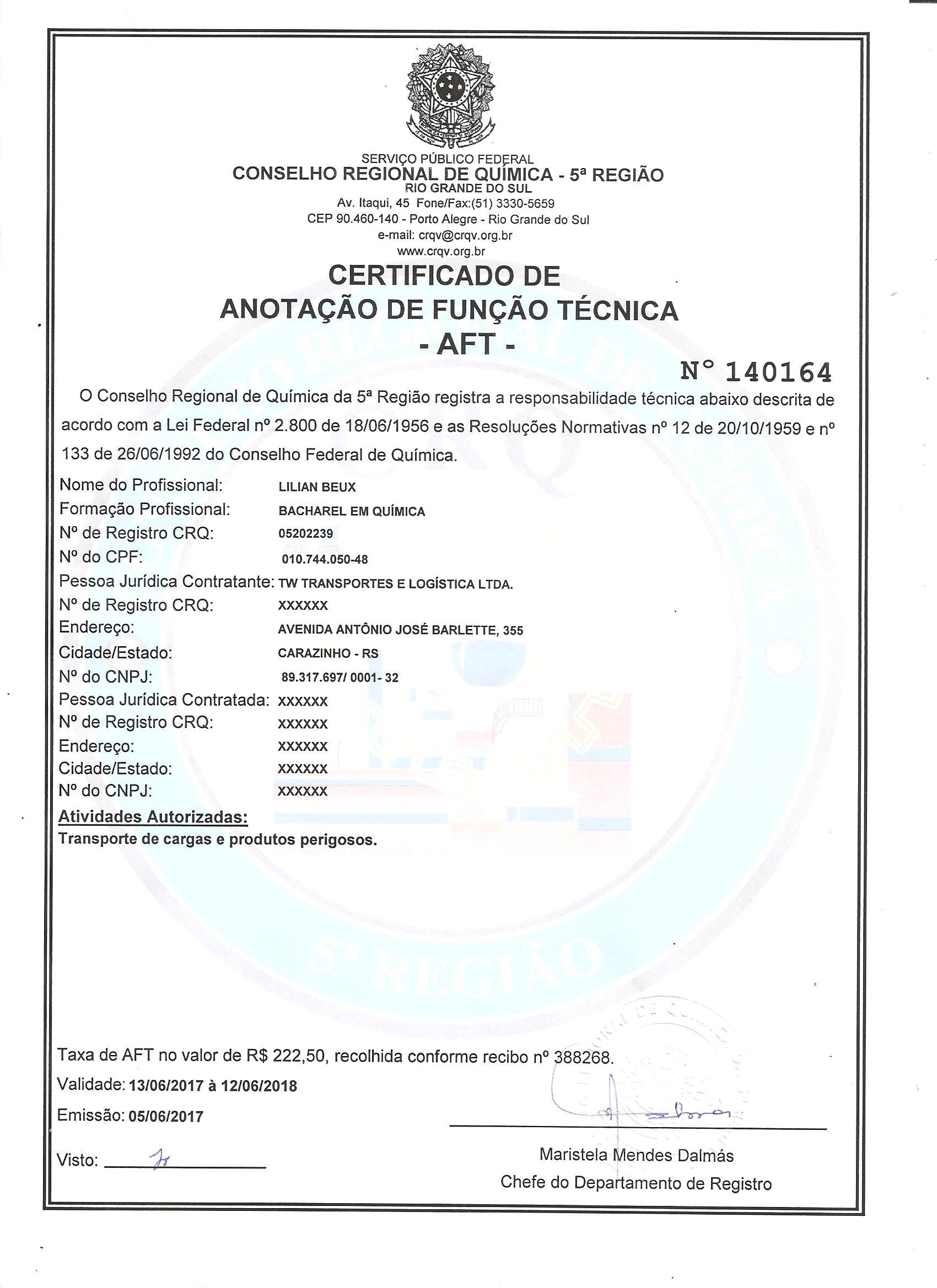 AFT Lilian (química) - MTZ